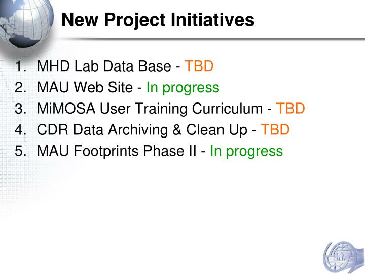 New Project Initiatives
