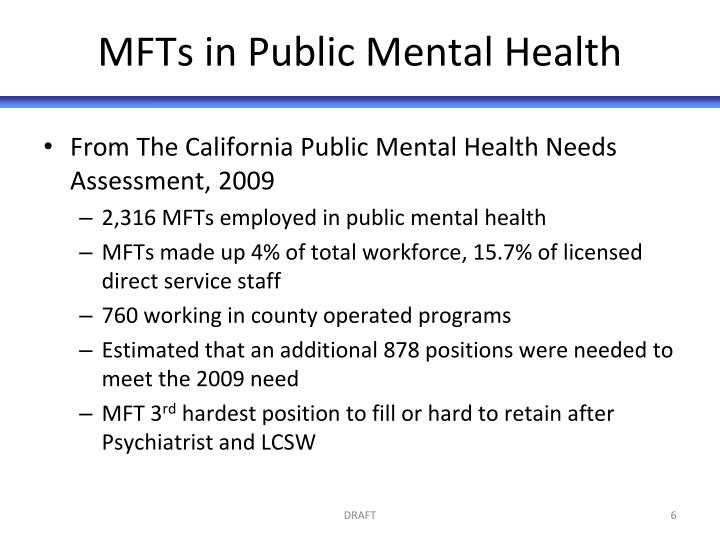 MFTs in Public Mental Health
