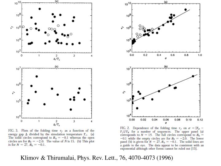 Klimov & Thirumalai, Phys. Rev. Lett., 76, 4070-4073 (1996)