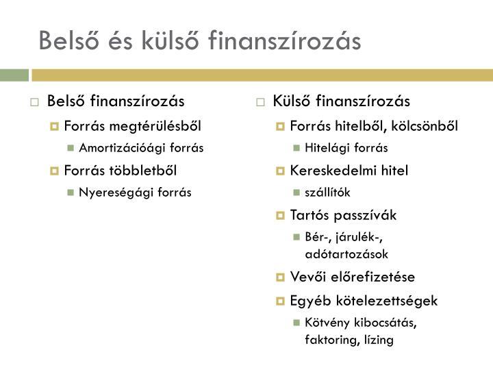 Belső és külső finanszírozás