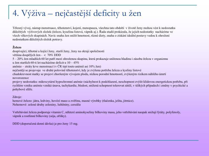 4. Výživa – nejčastější deficity u žen