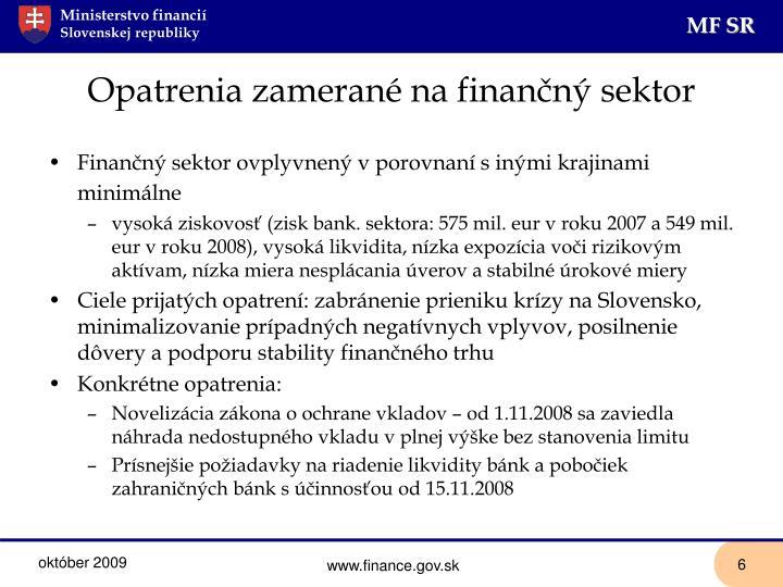 Opatrenia zamerané na finančný sektor