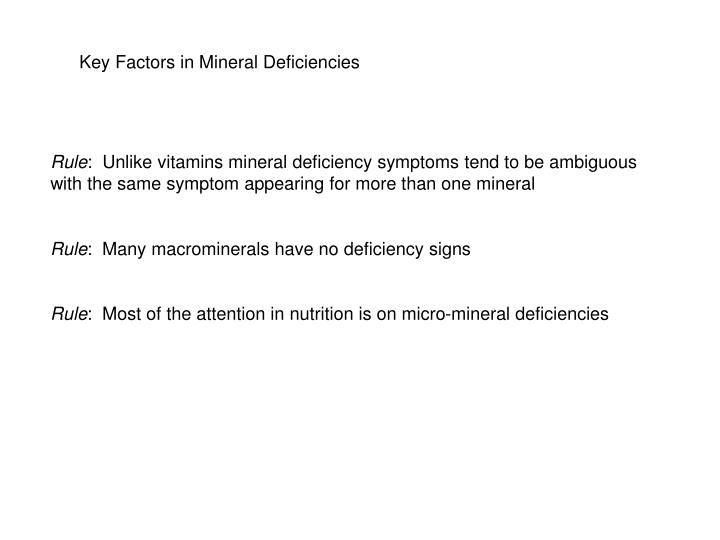 Key Factors in Mineral Deficiencies