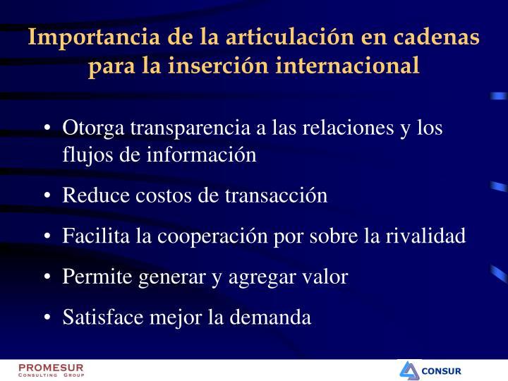 Importancia de la articulación en cadenas para la inserción internacional