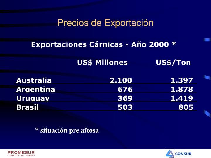 Exportaciones Cárnicas - Año 2000 *