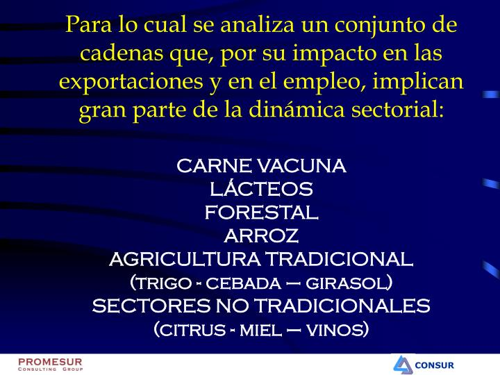 Para lo cual se analiza un conjunto de cadenas que, por su impacto en las exportaciones y en el empleo, implican gran parte de la dinámica sectorial: