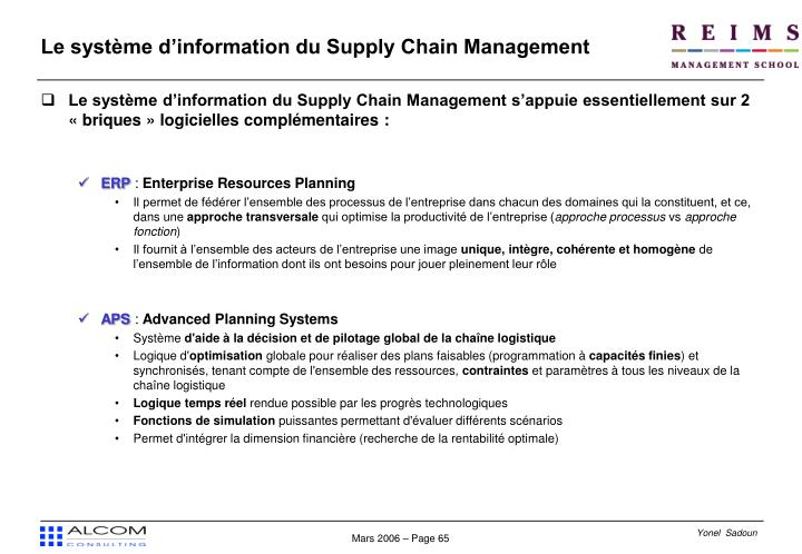 Le système d'information du Supply Chain Management