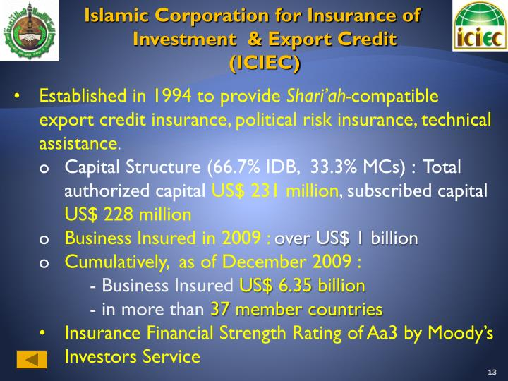 Islamic Corporation for Insurance of Investment  & Export Credit (ICIEC)