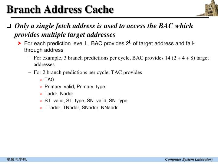 Branch Address Cache