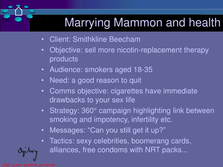Marrying Mammon and health