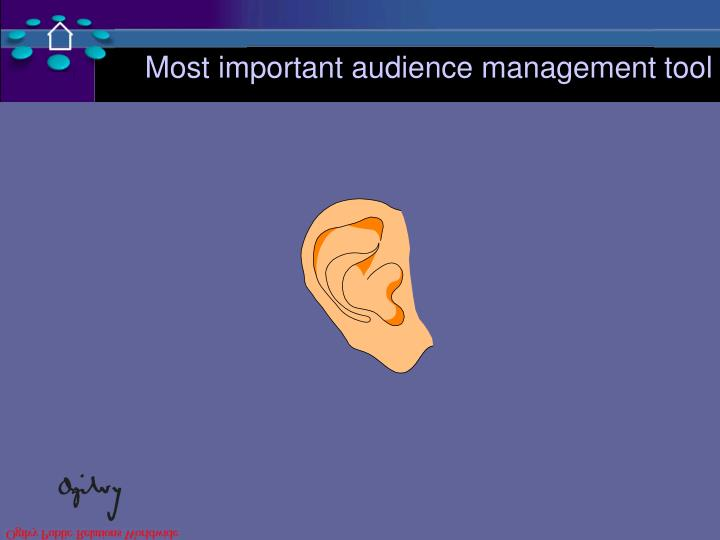 Most important audience management tool