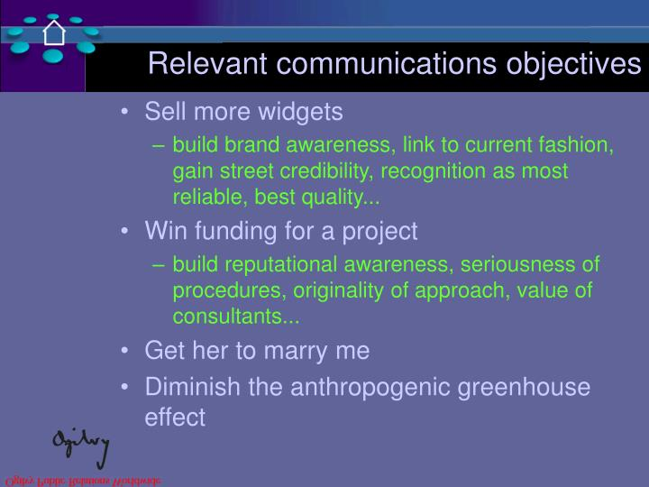 Relevant communications objectives