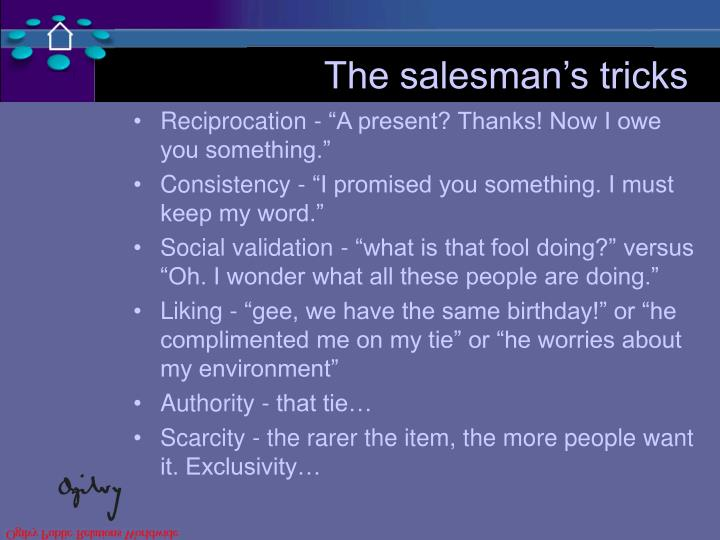 The salesman's tricks