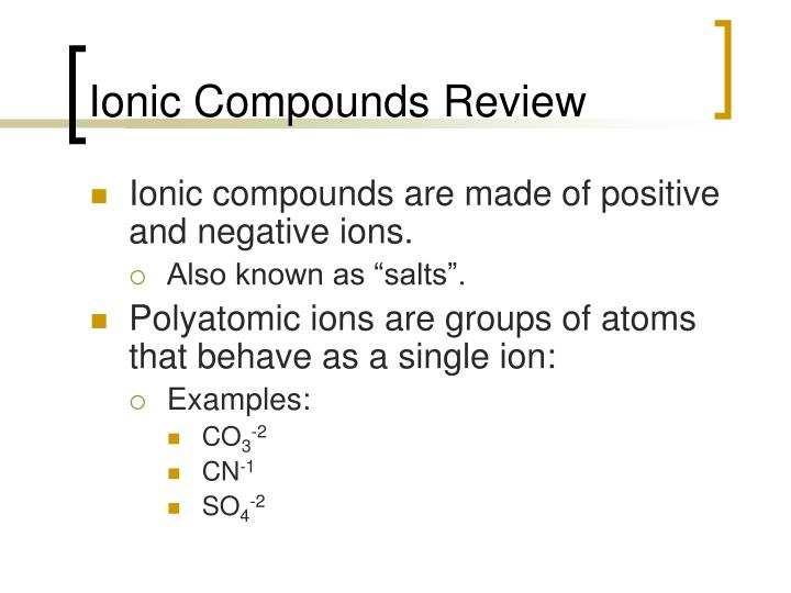 Ionic Compounds Review
