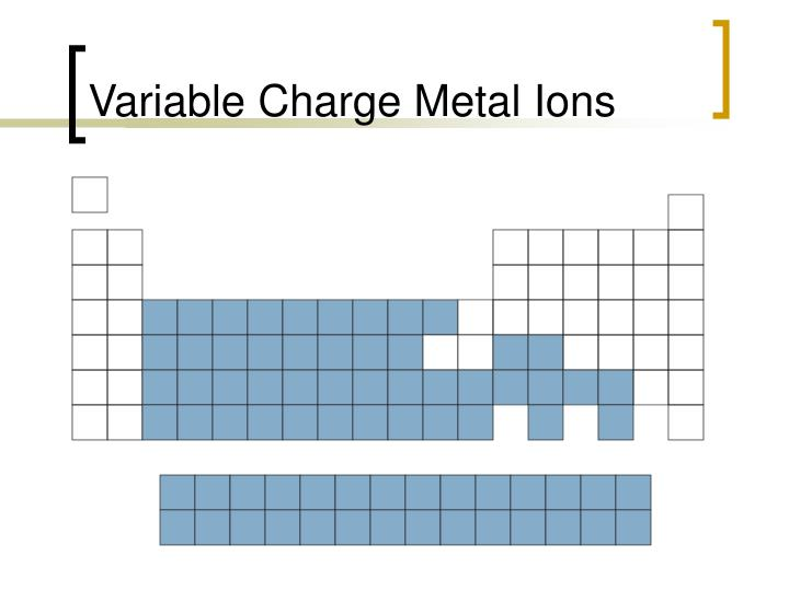 Variable Charge Metal Ions