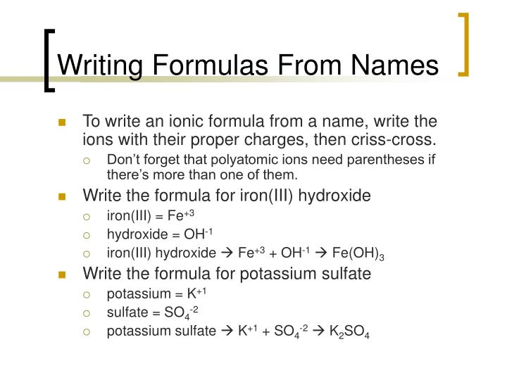 Writing Formulas From Names