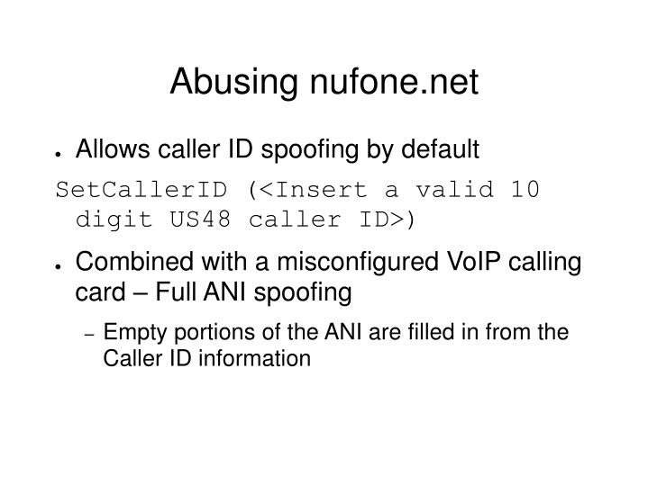 Abusing nufone.net