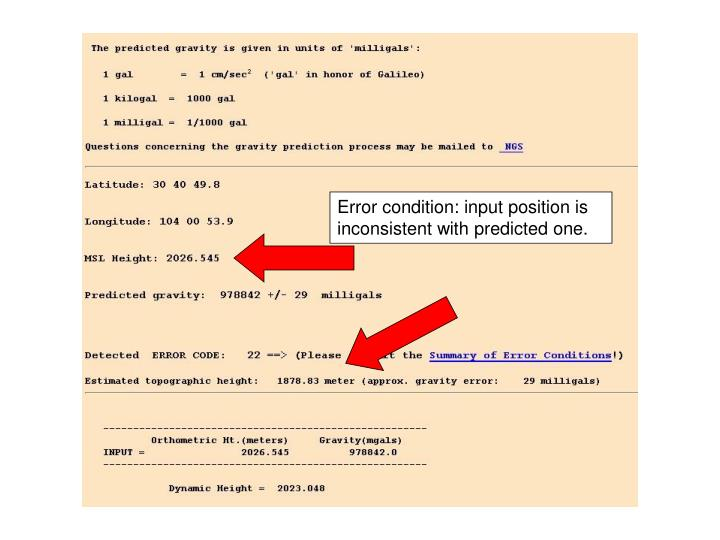 Error condition: input position is inconsistent with predicted one.