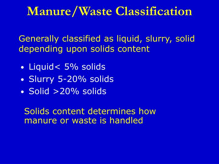 Manure/Waste Classification