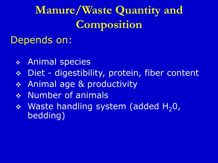 Manure/Waste Quantity and Composition