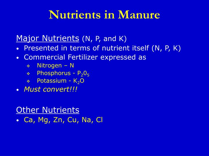 Nutrients in Manure