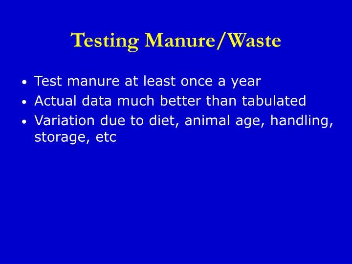 Testing Manure/Waste