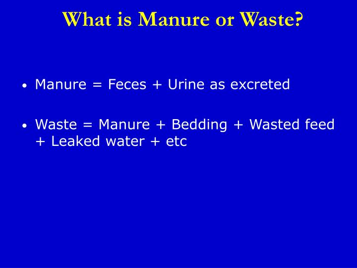 What is manure or waste