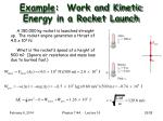 example work and kinetic energy in a rocket launch