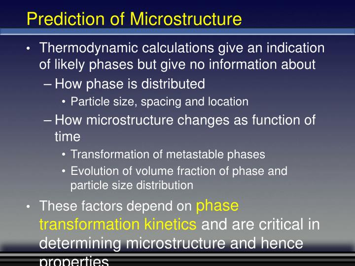 Prediction of Microstructure