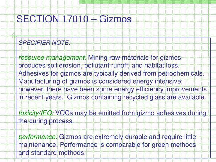 SECTION 17010 – Gizmos