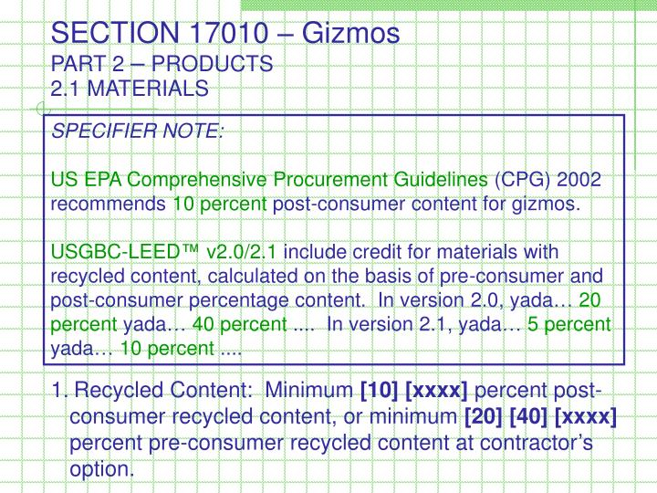 SECTION 17010 – Gizmos