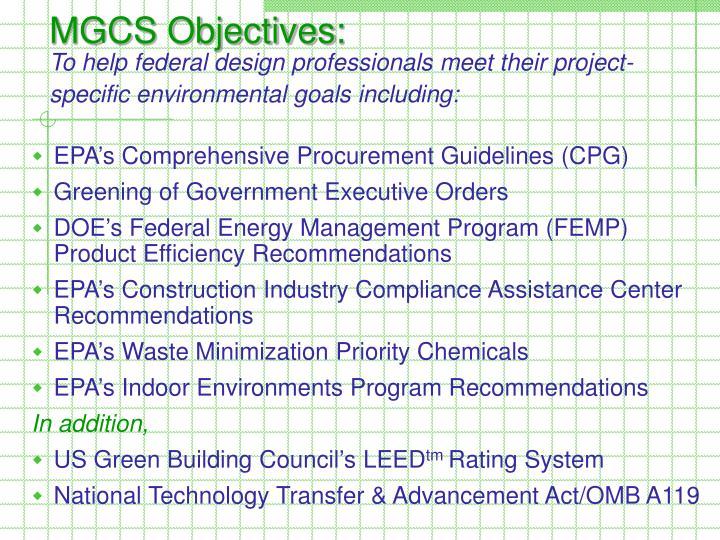 MGCS Objectives:
