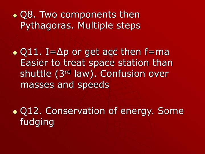 Q8. Two components then Pythagoras. Multiple steps