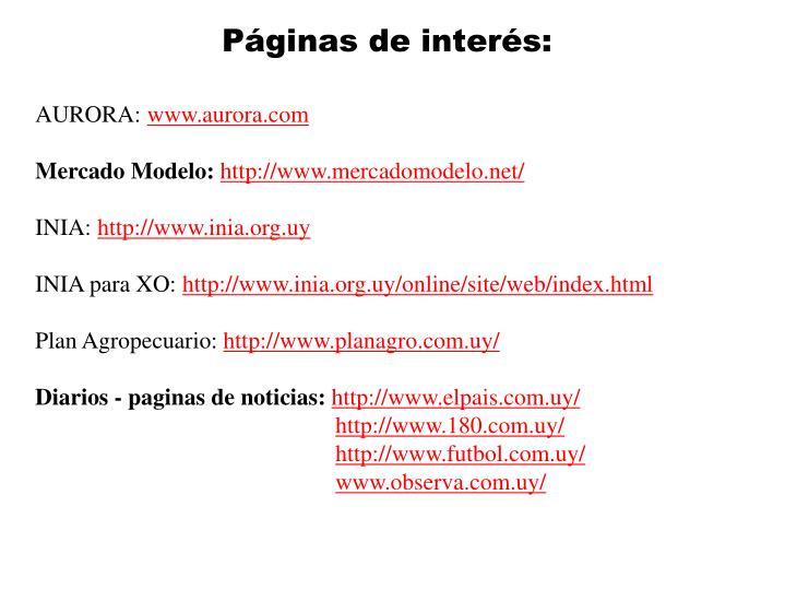 Páginas de interés: