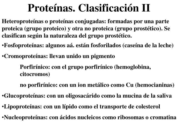 Heteroproteínas o proteínas conjugadas: formadas por una parte proteica (grupo proteico) y otra no proteica (grupo prostético). Se clasifican según la naturaleza del grupo prostético.