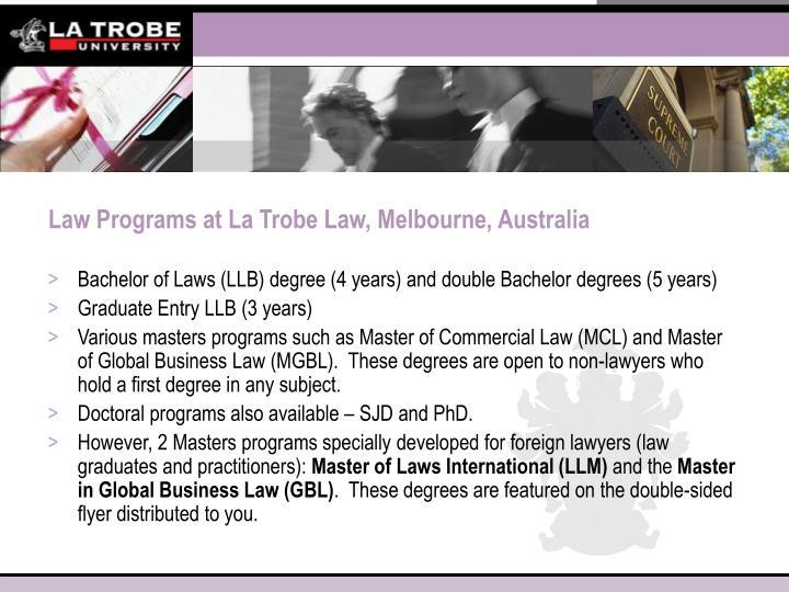 Law Programs at La Trobe Law, Melbourne, Australia