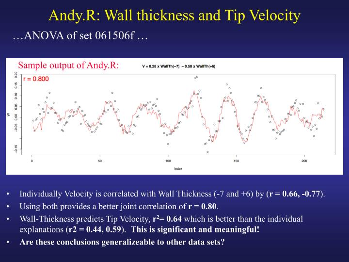 Andy.R: Wall thickness and Tip Velocity