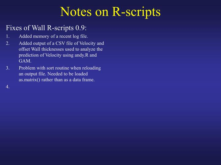 Fixes of Wall R-scripts 0.9: