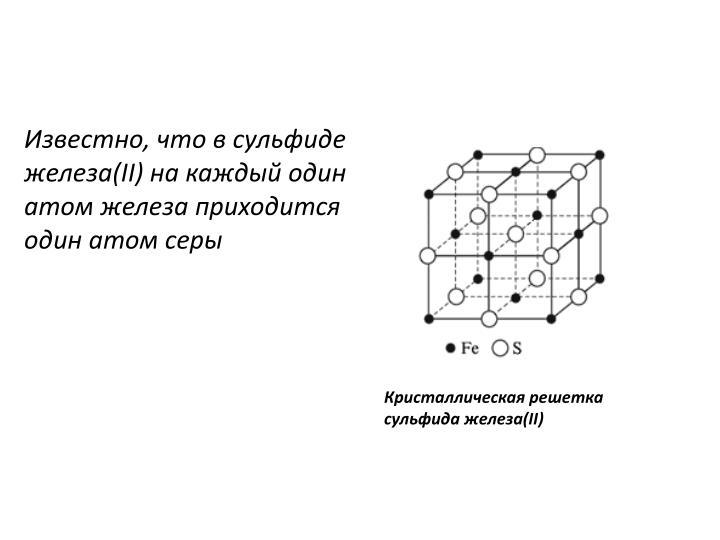 Известно, что в сульфиде железа(II) на каждый один атом железа приходится один атом серы