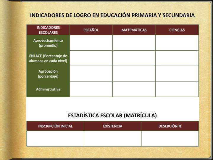 INDICADORES DE LOGRO EN EDUCACIÓN PRIMARIA Y SECUNDARIA