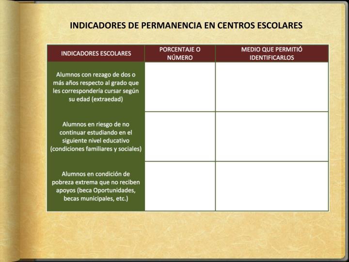 INDICADORES DE PERMANENCIA EN CENTROS ESCOLARES