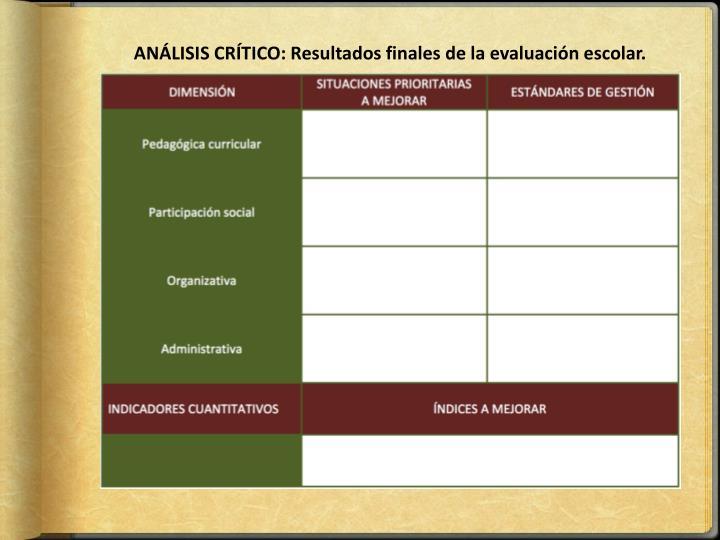 ANÁLISIS CRÍTICO: Resultados finales de la evaluación escolar.