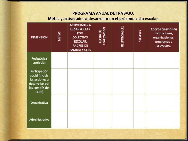 PROGRAMA ANUAL DE TRABAJO.