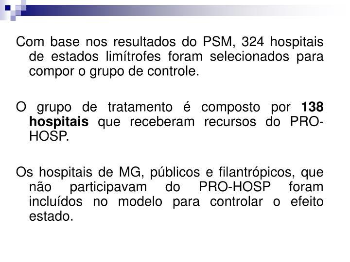 Com base nos resultados do PSM, 324 hospitais de estados limítrofes foram selecionados para compor o grupo de controle.