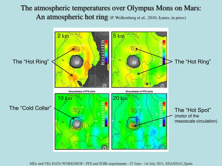 The atmospheric temperatures over Olympus Mons on Mars: