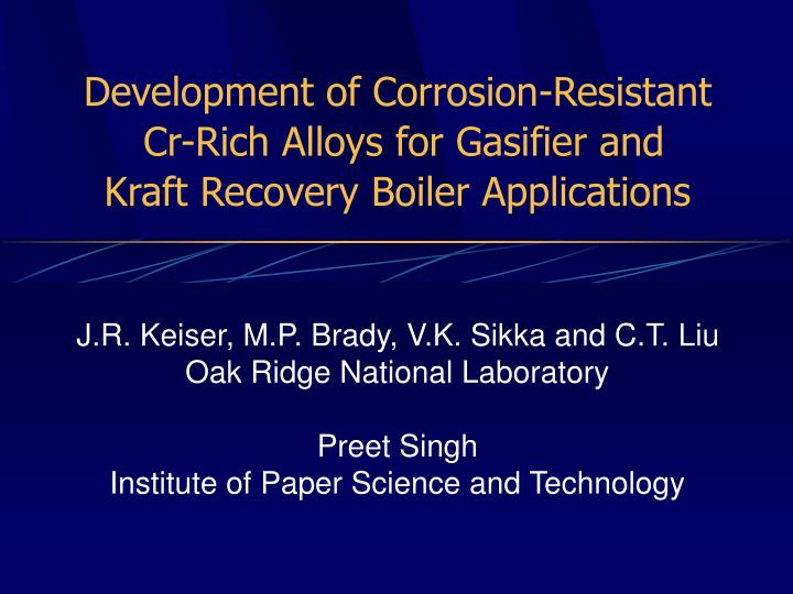 Development of Corrosion-Resistant