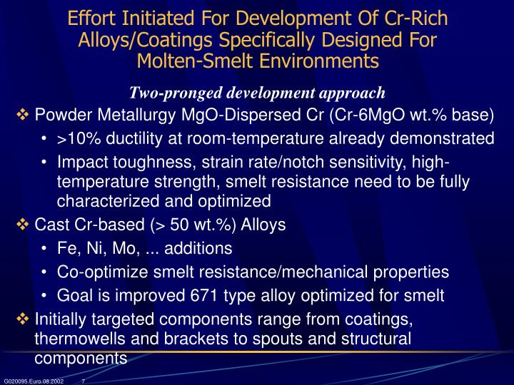 Effort Initiated For Development Of Cr-Rich Alloys/Coatings Specifically Designed For      Molten-Smelt Environments