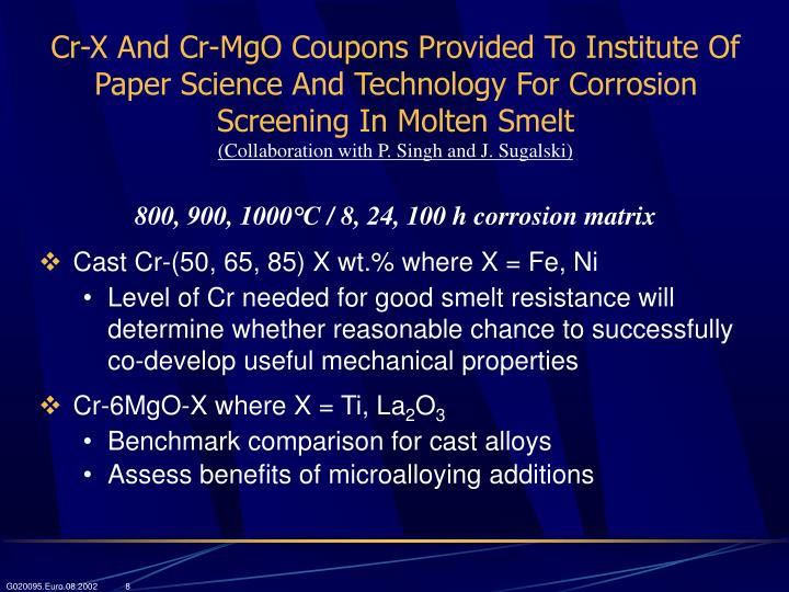 Cr-X And Cr-MgO Coupons Provided To Institute Of Paper Science And Technology For Corrosion Screening In Molten Smelt