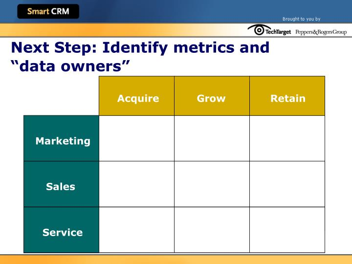 """Next Step: Identify metrics and """"data owners"""""""