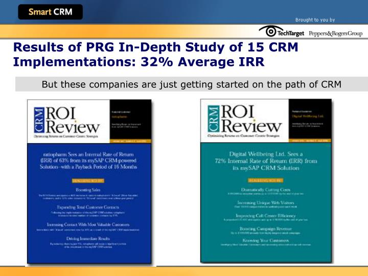 Results of PRG In-Depth Study of 15 CRM Implementations: 32% Average IRR